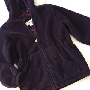 Hooded Parka Jacket Cinch Waist Purple